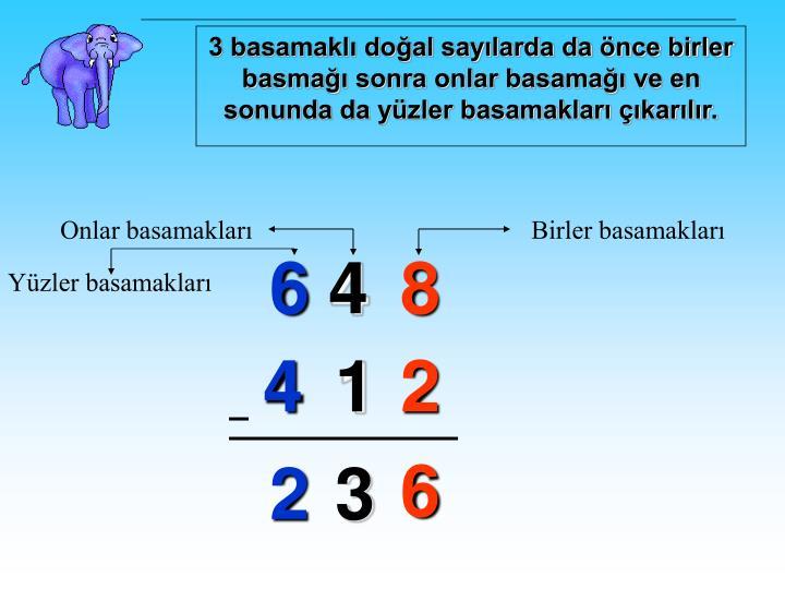 3 basamaklı doğal sayılarda da önce birler basmağı sonra onlar basamağı ve en sonunda da yüzler basamakları çıkarılır.