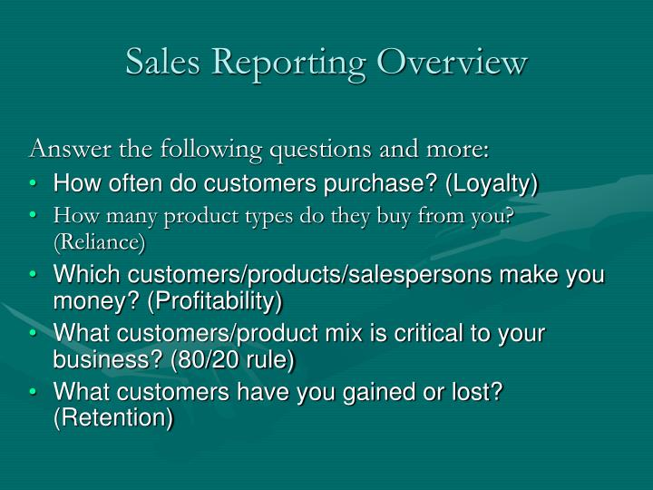 Sales reporting overview