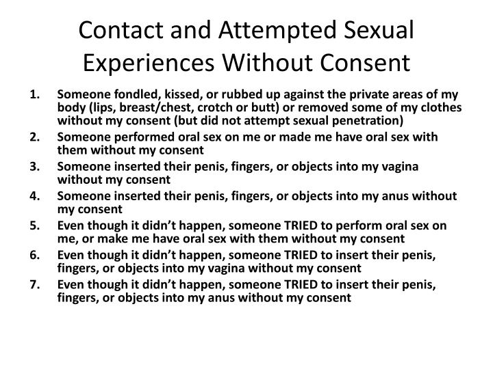 Contact and Attempted Sexual Experiences Without