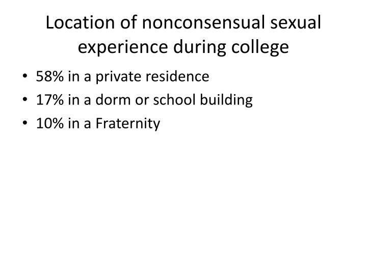 Location of nonconsensual sexual experience during college