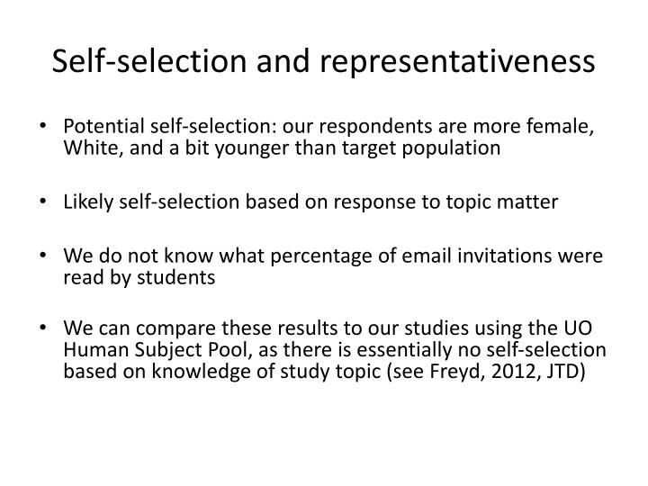 Self-selection and representativeness