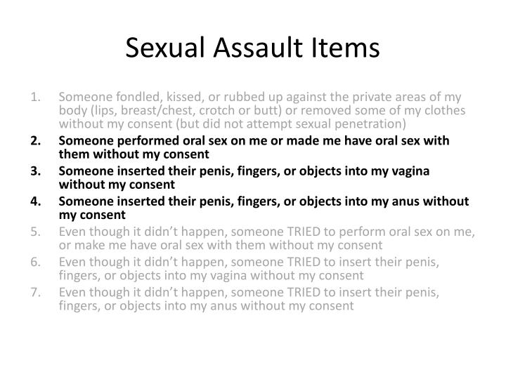 Sexual Assault Items