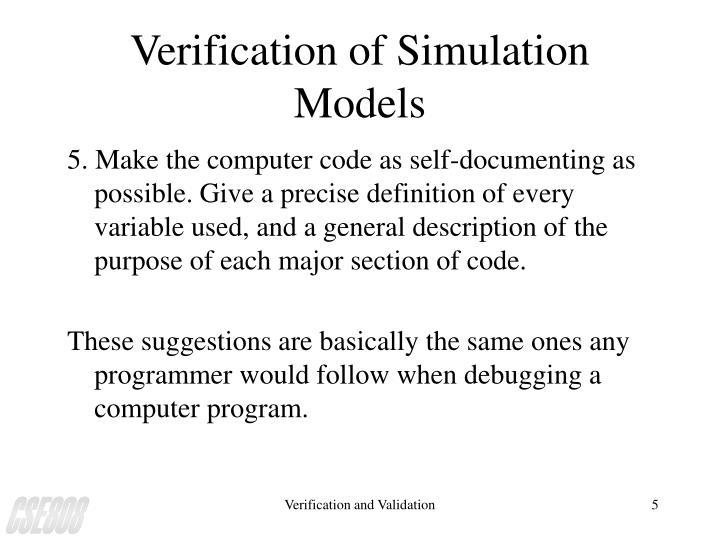 Verification of Simulation Models