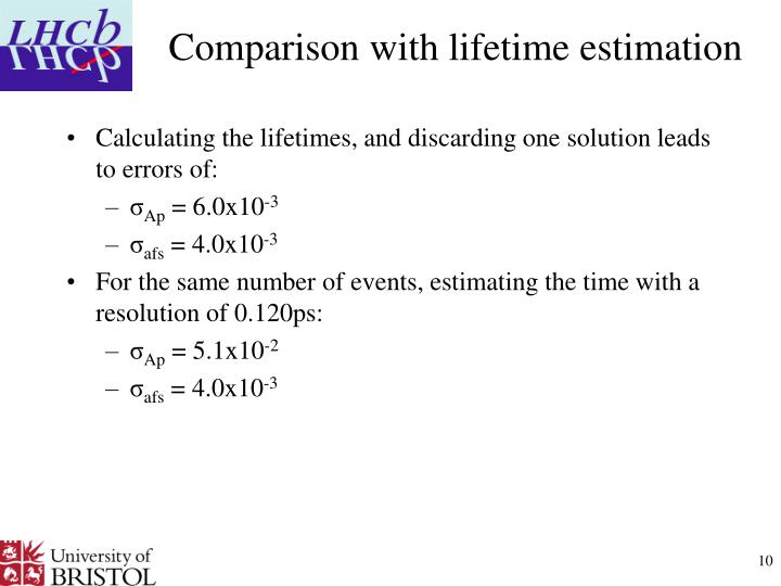 Comparison with lifetime estimation