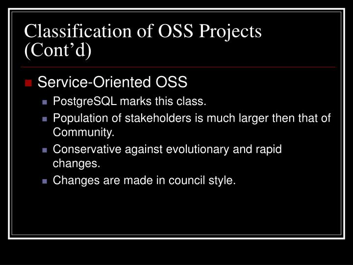 Classification of OSS Projects (Cont'd)