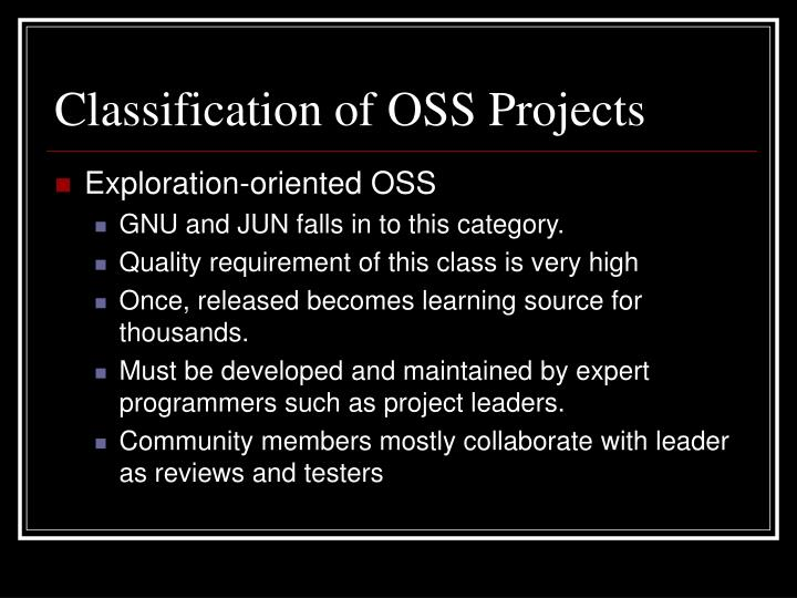 Classification of OSS Projects