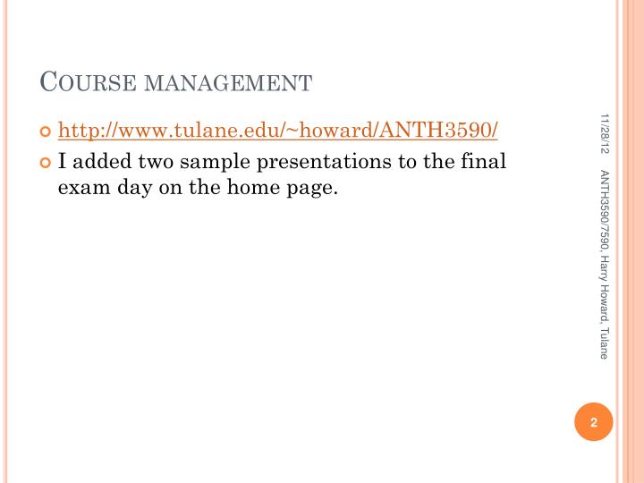 Course management