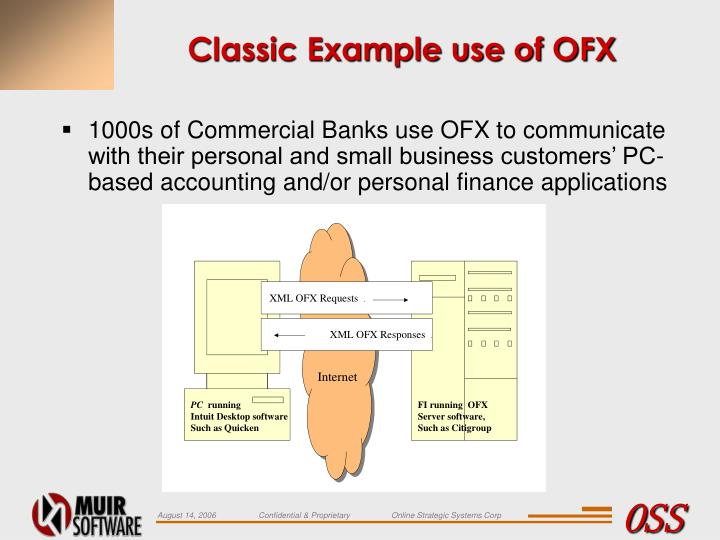 Classic Example use of OFX