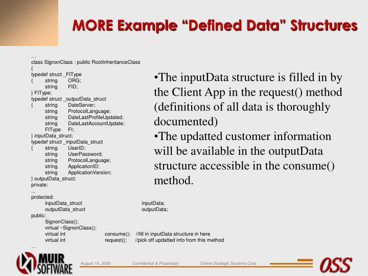 "MORE Example ""Defined Data"" Structures"