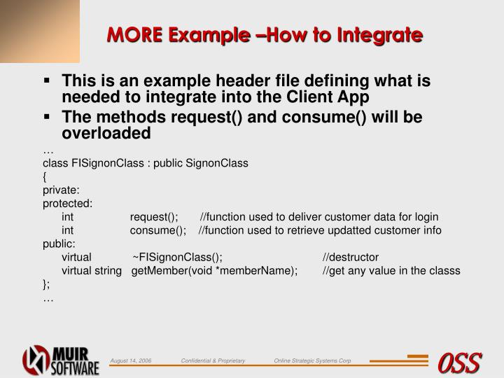 MORE Example –How to Integrate