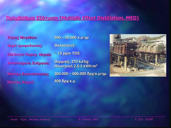 Πολυβάθμια Εξάτμιση (Multiple Effect Distillation, MED)