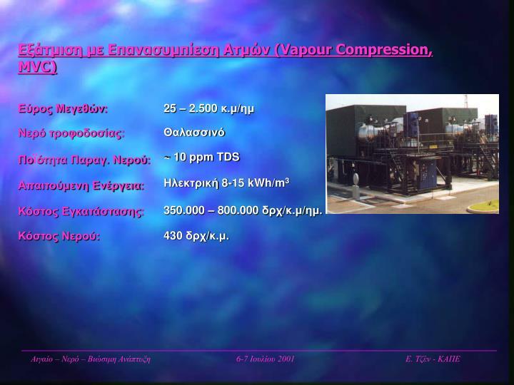 Εξάτμιση με Επανασυμπίεση Ατμών (Vapour Compression, MVC)