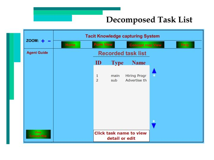 Decomposed Task List