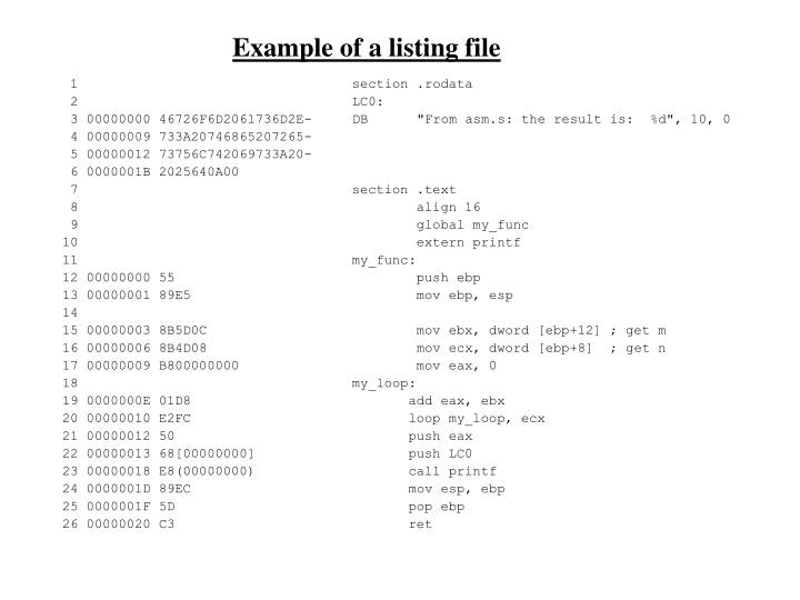 Example of a listing file