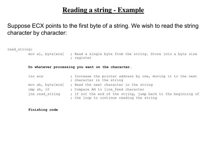Reading a string - Example