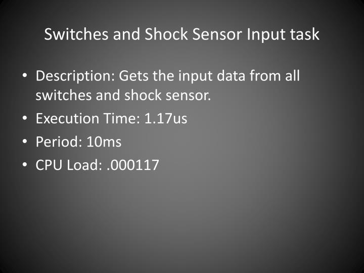 Switches and Shock Sensor Input task