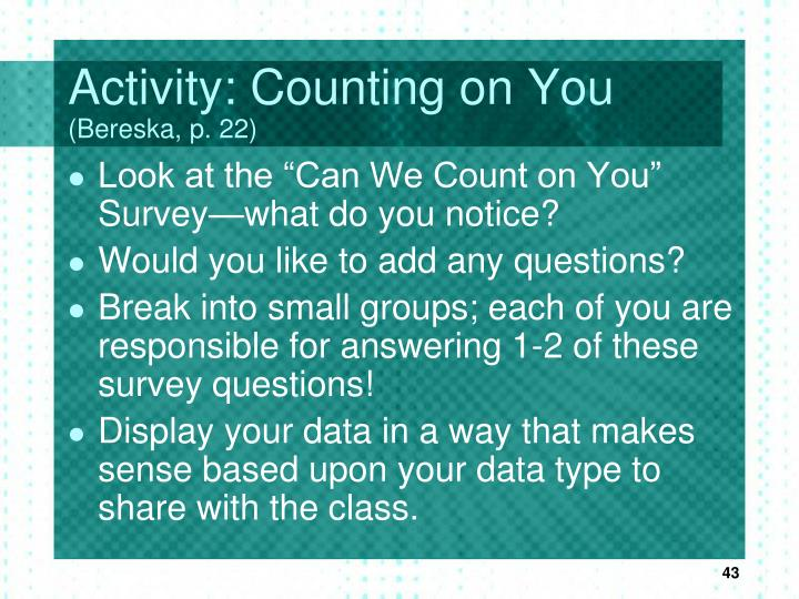 Activity: Counting on You