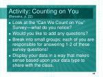 activity counting on you bereska p 22