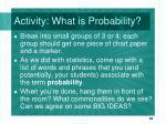 activity what is probability