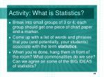 activity what is statistics