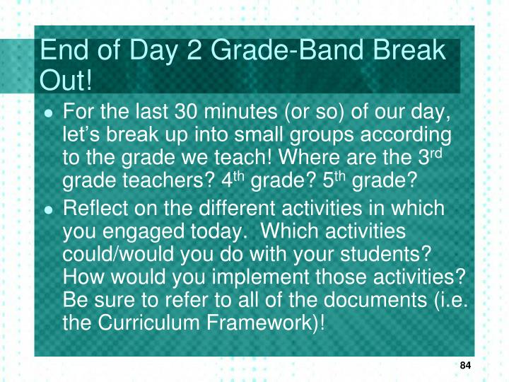End of Day 2 Grade-Band Break Out!