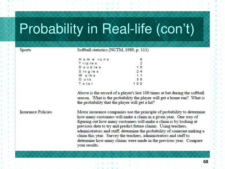 Probability in Real-life (con't)