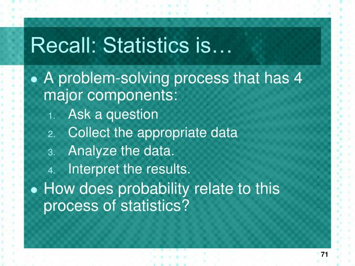 Recall: Statistics is…