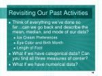 revisiting our past activities