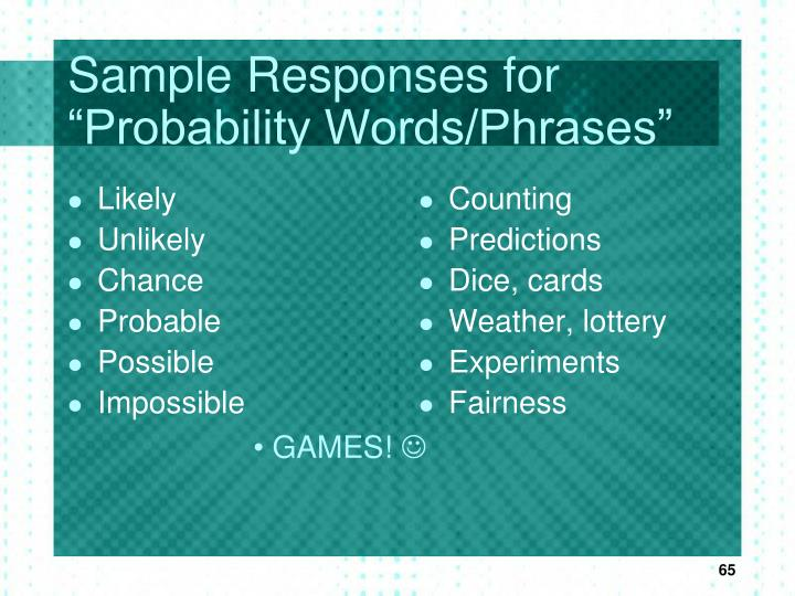 "Sample Responses for ""Probability Words/Phrases"""