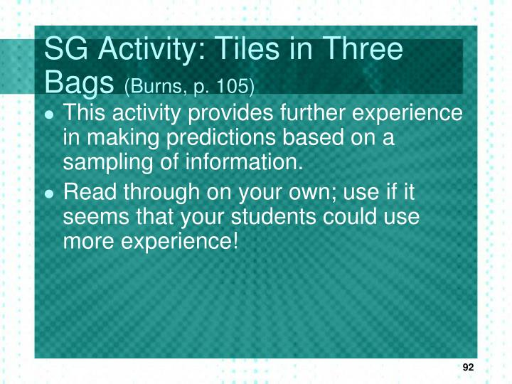 SG Activity: Tiles in Three Bags