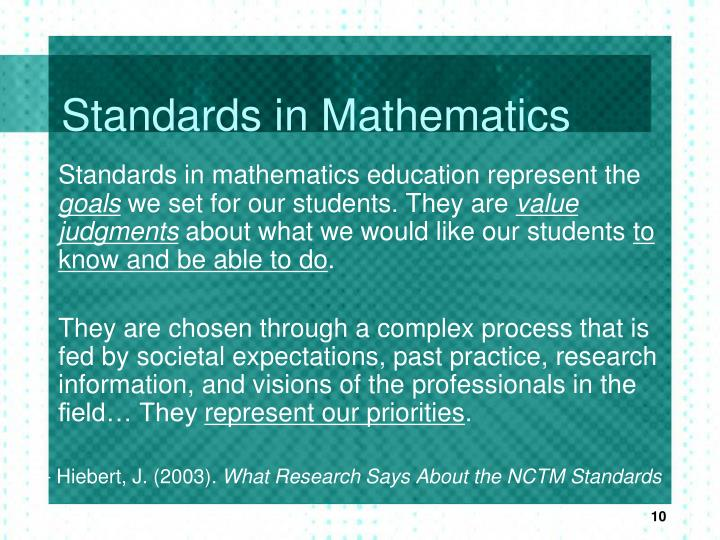 Standards in Mathematics