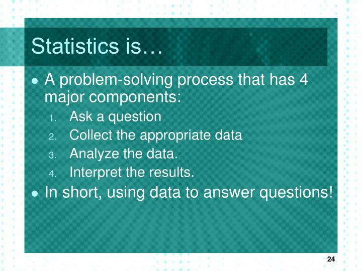Statistics is…