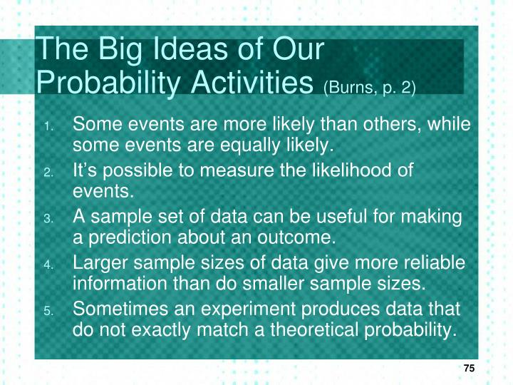 The Big Ideas of Our Probability Activities