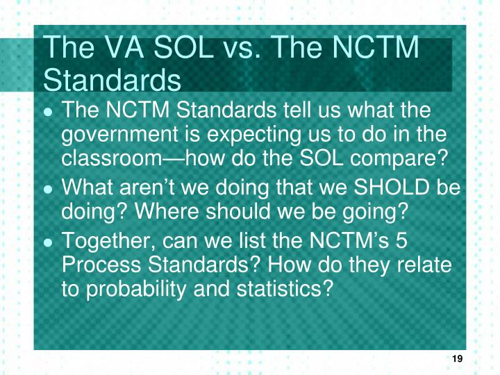 The VA SOL vs. The NCTM Standards