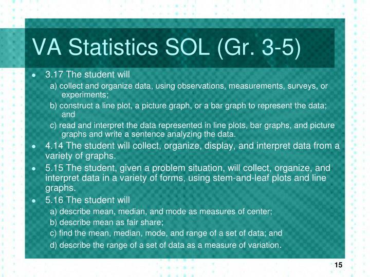 VA Statistics SOL (Gr. 3-5)