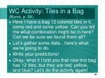 wc activity tiles in a bag burns p 54