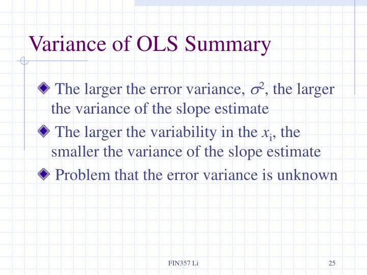 Variance of OLS Summary