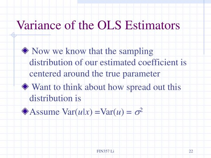 Variance of the OLS Estimators