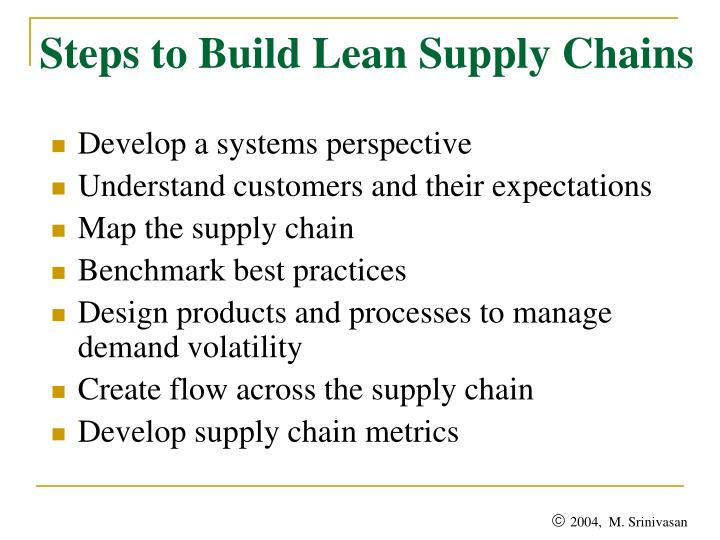 Steps to Build Lean Supply Chains