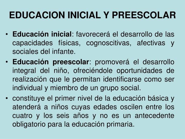 EDUCACION INICIAL Y PREESCOLAR