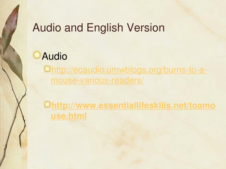 Audio and English Version
