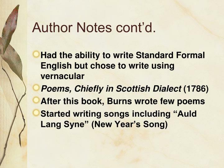 Author Notes cont'd.