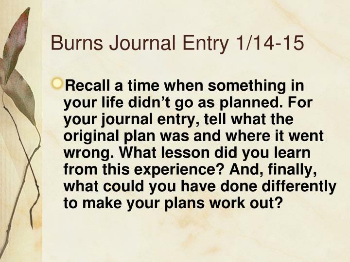 Burns Journal Entry 1/14-15
