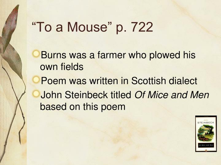 """To a Mouse"" p. 722"