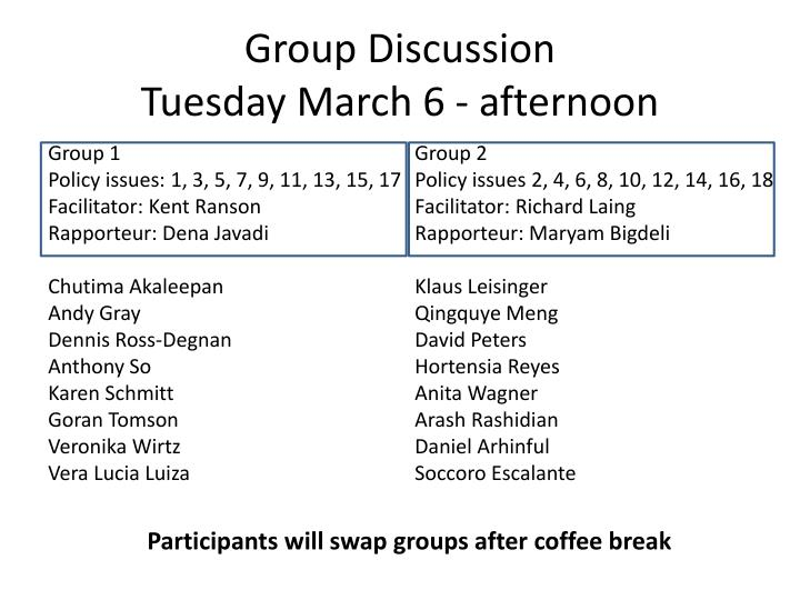 Group discussion tuesday march 6 afternoon