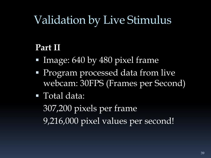Validation by Live Stimulus