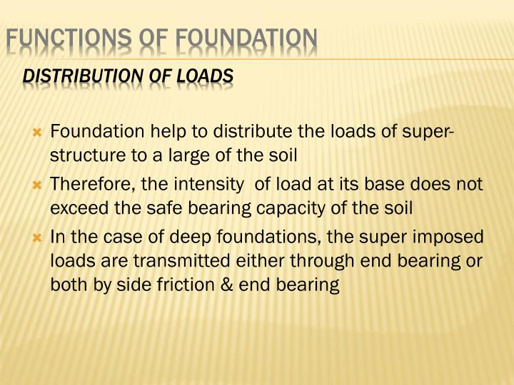 Foundation help to distribute the loads of super-structure to a large of the soil