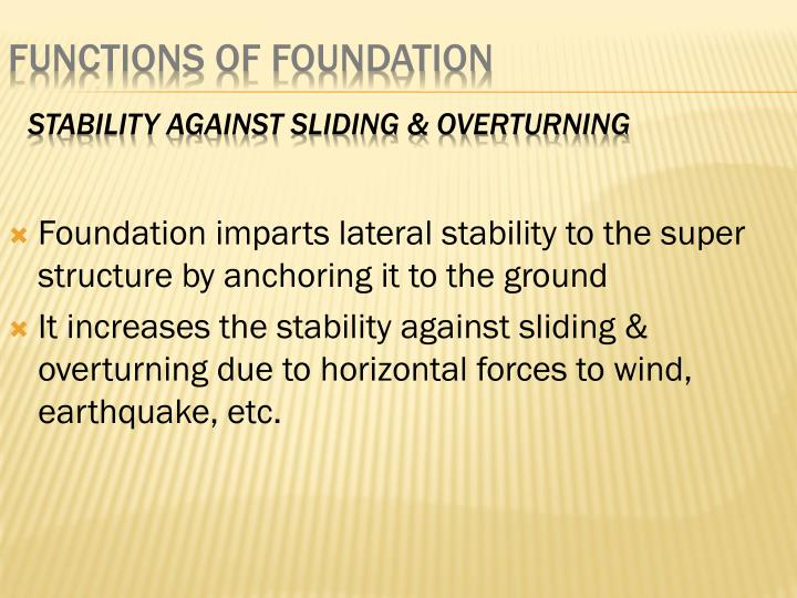 Foundation imparts lateral stability to the super structure by anchoring it to the ground