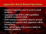 apparatus based rehab operations