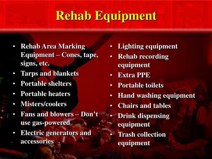 Rehab Area Marking Equipment – Cones, tape, signs, etc.